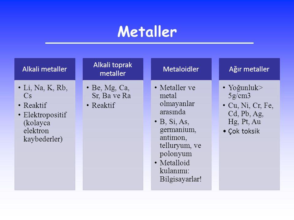 Alkali metaller Li, Na, K, Rb, Cs Reaktif Elektropositif (kolayca elektron kaybederler) Alkali toprak metaller Be, Mg, Ca, Sr, Ba ve Ra Reaktif Metalo