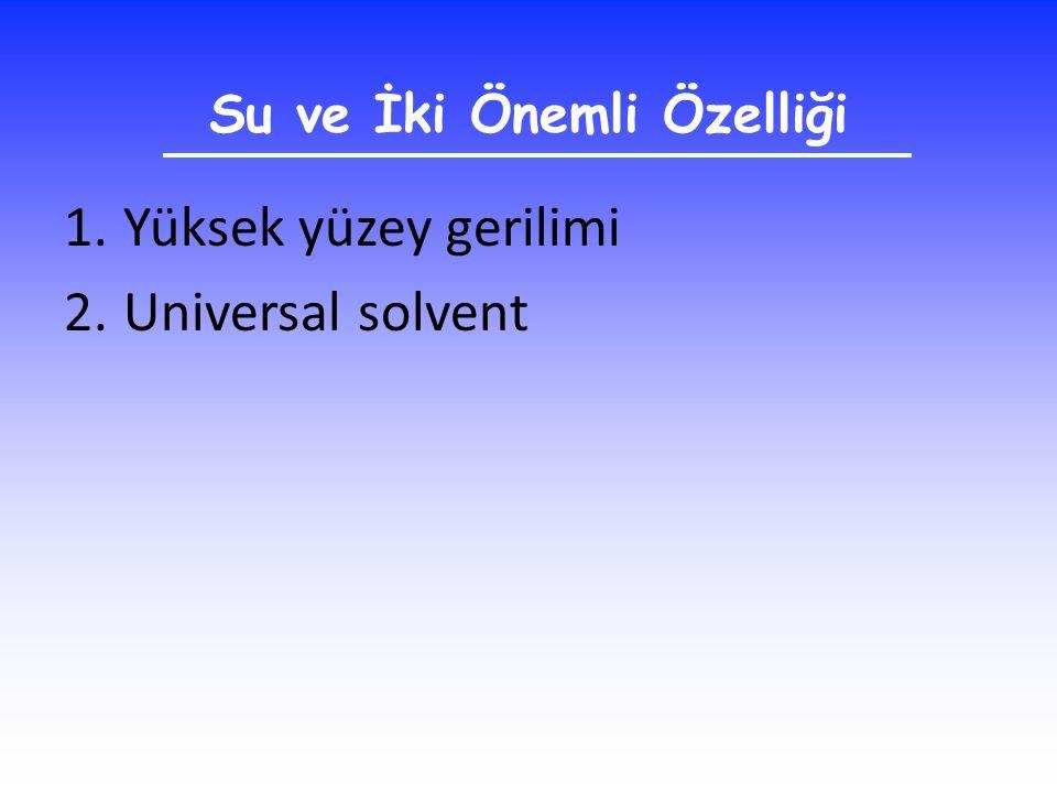Su ve İki Önemli Özelliği 1.Yüksek yüzey gerilimi 2.Universal solvent
