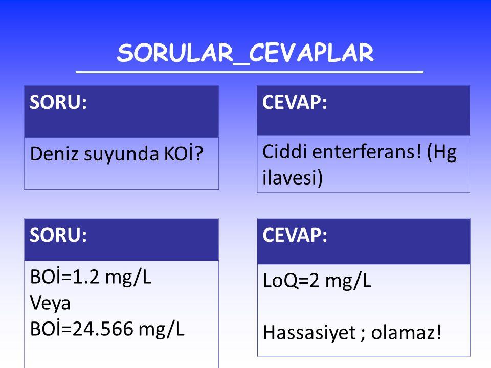 SORULAR_CEVAPLAR SORU: Deniz suyunda KOİ? CEVAP: Ciddi enterferans! (Hg ilavesi) SORU: BOİ=1.2 mg/L Veya BOİ=24.566 mg/L CEVAP: LoQ=2 mg/L Hassasiyet