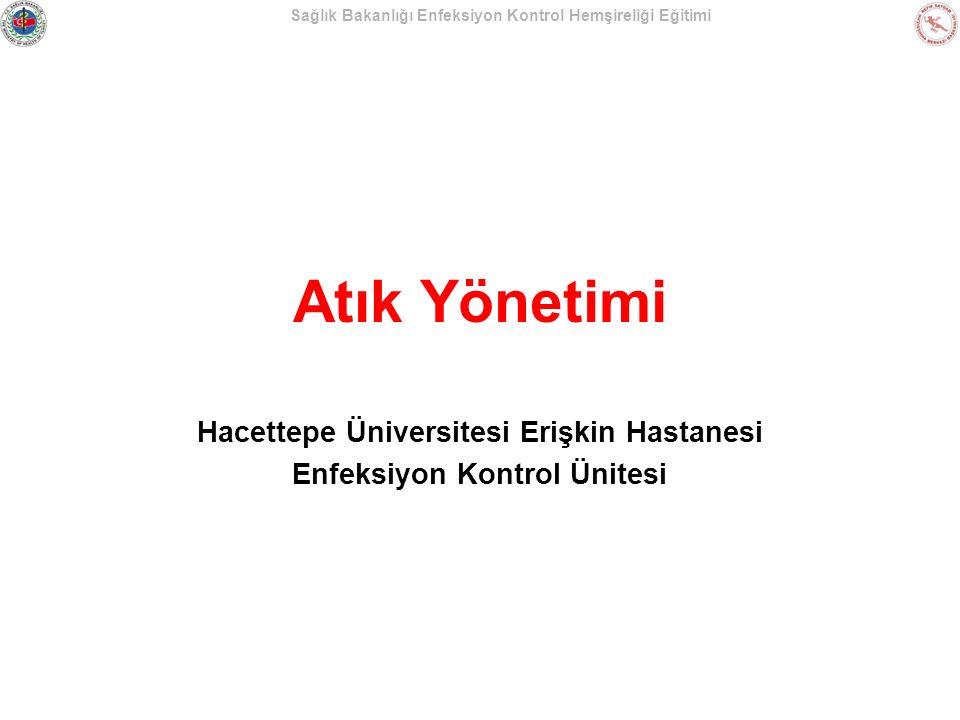 Sağlık Bakanlığı Enfeksiyon Kontrol Hemşireliği Eğitimi Atık Yönetimi Hacettepe Üniversitesi Erişkin Hastanesi Enfeksiyon Kontrol Ünitesi