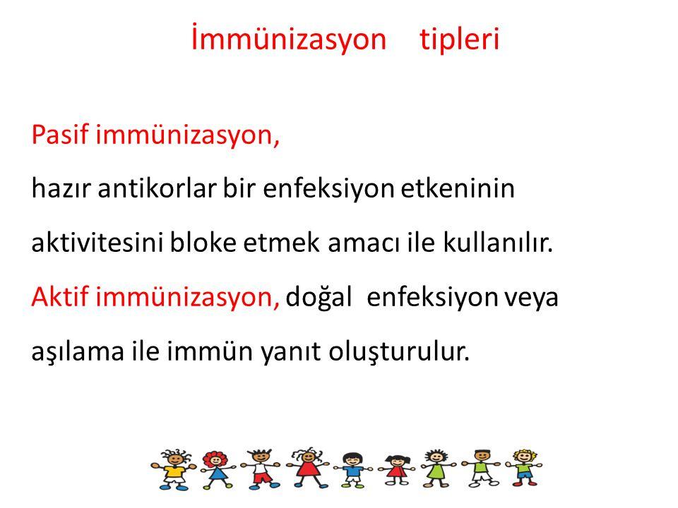 Pasif immünizasyon, hazır antikorlar bir enfeksiyon etkeninin aktivitesini bloke etmek amacı ile kullanılır. Aktif immünizasyon, doğal enfeksiyon veya