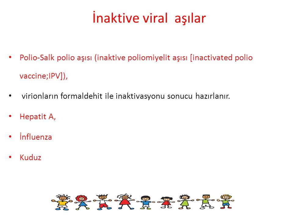 İnaktive viral aşılar Polio-Salk polio aşısı (inaktive poliomiyelit aşısı [inactivated polio vaccine;IPV]), virionların formaldehit ile inaktivasyonu