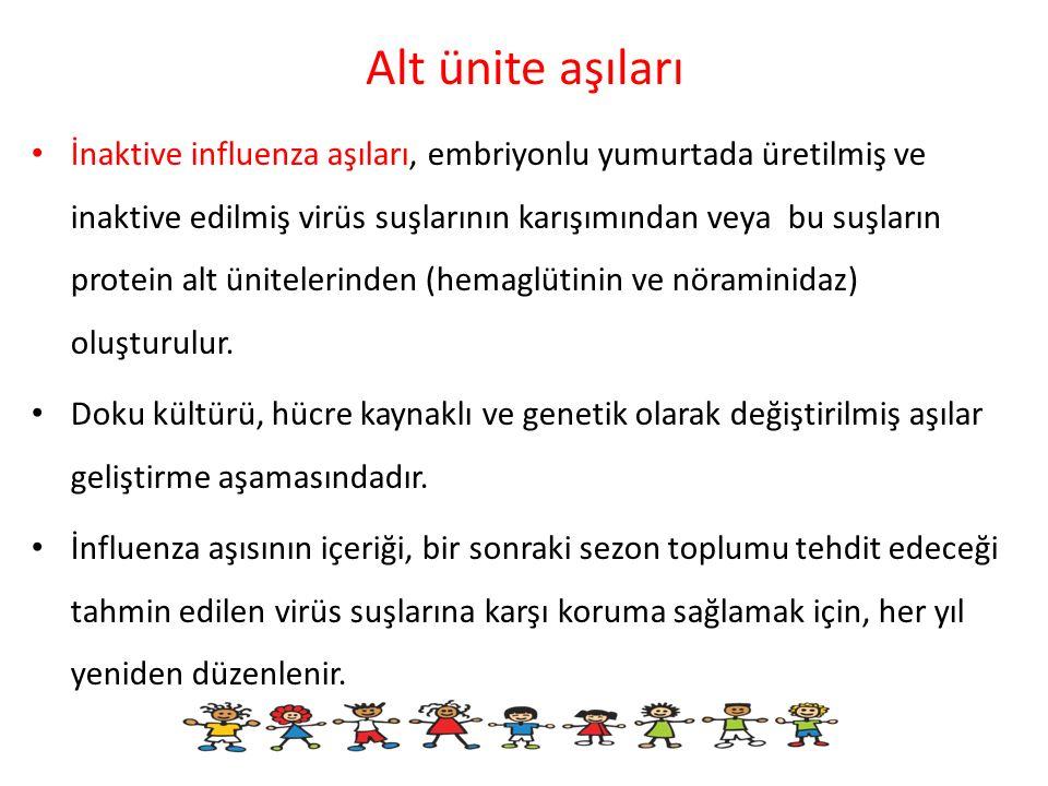 Alt ünite aşıları İnaktive influenza aşıları, embriyonlu yumurtada üretilmiş ve inaktive edilmiş virüs suşlarının karışımından veya bu suşların protei