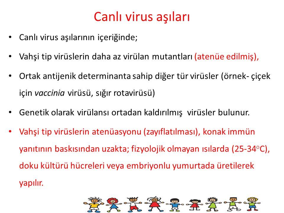 Canlı virus aşıları Canlı virus aşılarının içeriğinde; Vahşi tip virüslerin daha az virülan mutantları (atenüe edilmiş), Ortak antijenik determinanta