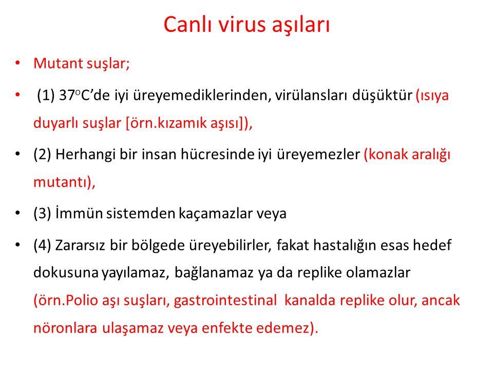 Canlı virus aşıları Mutant suşlar; (1) 37 o C'de iyi üreyemediklerinden, virülansları düşüktür (ısıya duyarlı suşlar [örn.kızamık aşısı]), (2) Herhang