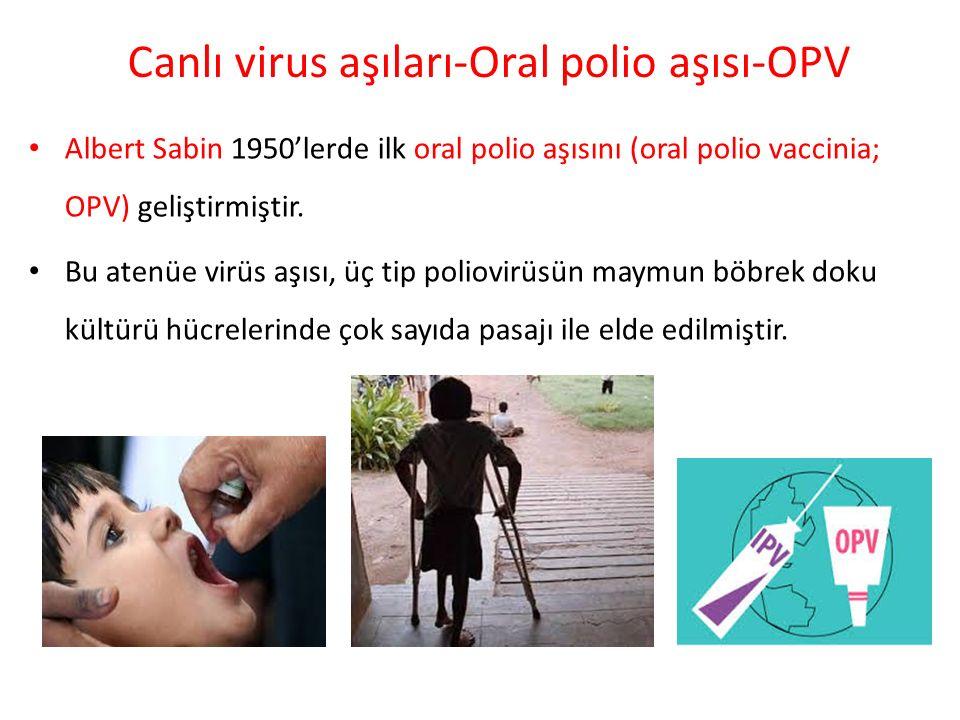 Canlı virus aşıları-Oral polio aşısı-OPV Albert Sabin 1950'lerde ilk oral polio aşısını (oral polio vaccinia; OPV) geliştirmiştir. Bu atenüe virüs aşı