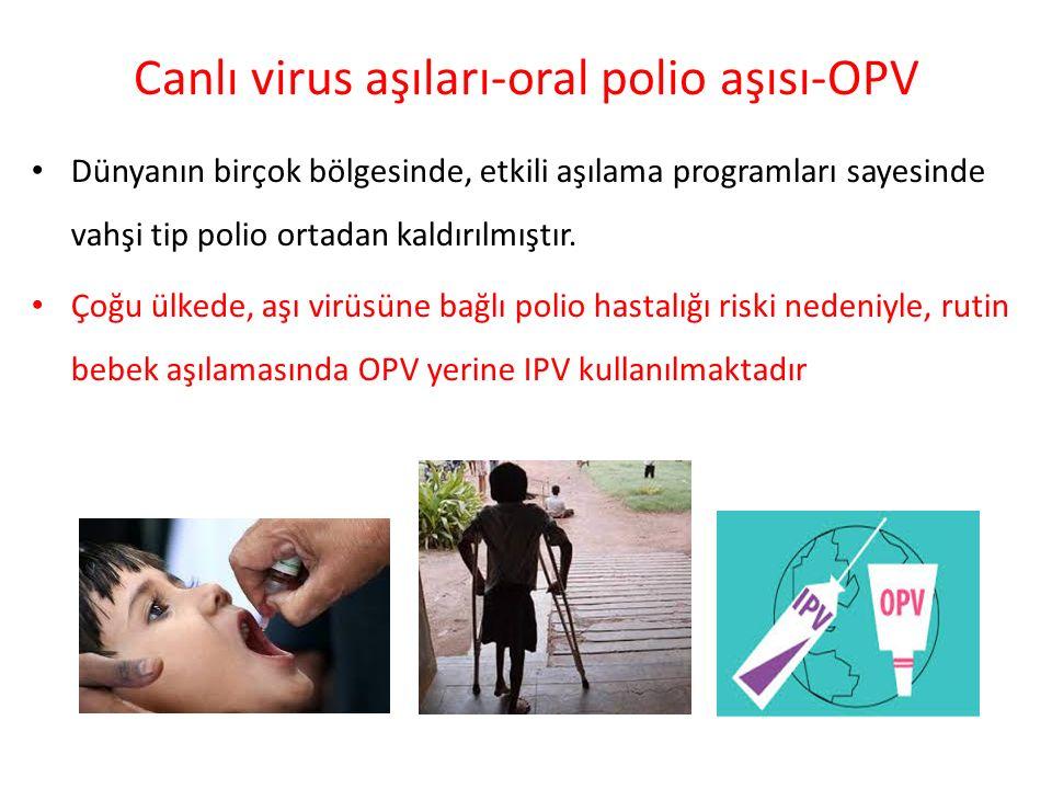 Canlı virus aşıları-oral polio aşısı-OPV Dünyanın birçok bölgesinde, etkili aşılama programları sayesinde vahşi tip polio ortadan kaldırılmıştır. Çoğu