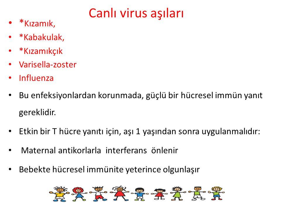 Canlı virus aşıları * Kızamık, *Kabakulak, *Kızamıkçık Varisella-zoster Influenza Bu enfeksiyonlardan korunmada, güçlü bir hücresel immün yanıt gerekl
