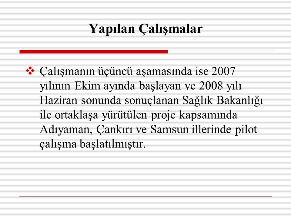  Çalışmanın üçüncü aşamasında ise 2007 yılının Ekim ayında başlayan ve 2008 yılı Haziran sonunda sonuçlanan Sağlık Bakanlığı ile ortaklaşa yürütülen proje kapsamında Adıyaman, Çankırı ve Samsun illerinde pilot çalışma başlatılmıştır.