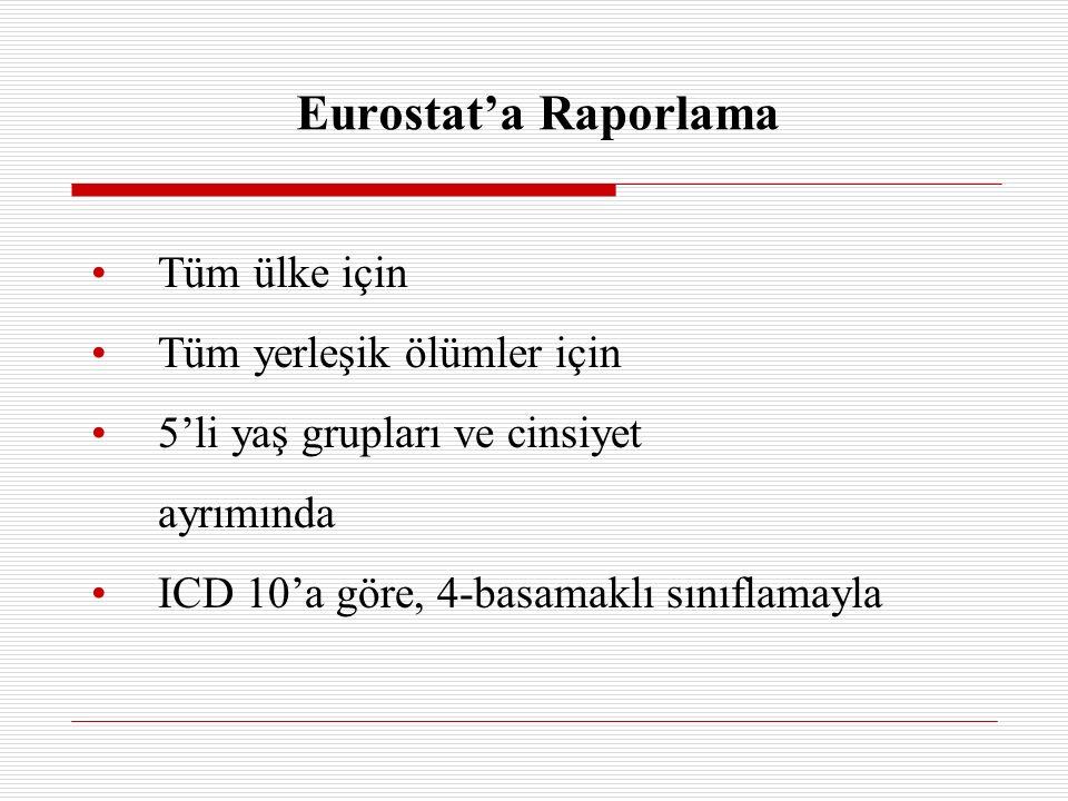 Eurostat'a Raporlama Tüm ülke için Tüm yerleşik ölümler için 5'li yaş grupları ve cinsiyet ayrımında ICD 10'a göre, 4-basamaklı sınıflamayla