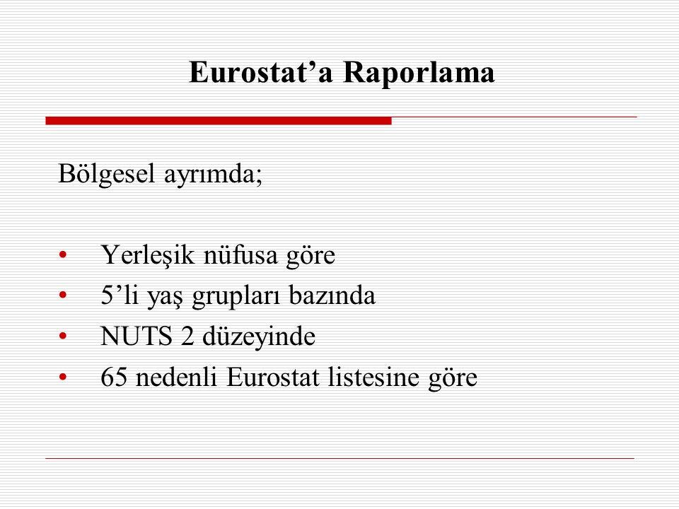 Eurostat'a Raporlama Bölgesel ayrımda; Yerleşik nüfusa göre 5'li yaş grupları bazında NUTS 2 düzeyinde 65 nedenli Eurostat listesine göre