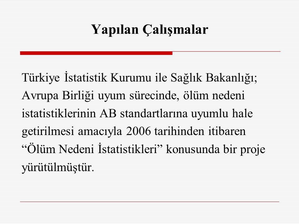 Türkiye İstatistik Kurumu ile Sağlık Bakanlığı; Avrupa Birliği uyum sürecinde, ölüm nedeni istatistiklerinin AB standartlarına uyumlu hale getirilmesi amacıyla 2006 tarihinden itibaren Ölüm Nedeni İstatistikleri konusunda bir proje yürütülmüştür.