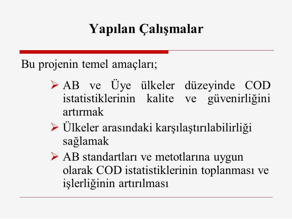 Bu projenin temel amaçları;  AB ve Üye ülkeler düzeyinde COD istatistiklerinin kalite ve güvenirliğini artırmak  Ülkeler arasındaki karşılaştırılabilirliği sağlamak  AB standartları ve metotlarına uygun olarak COD istatistiklerinin toplanması ve işlerliğinin artırılması Yapılan Çalışmalar