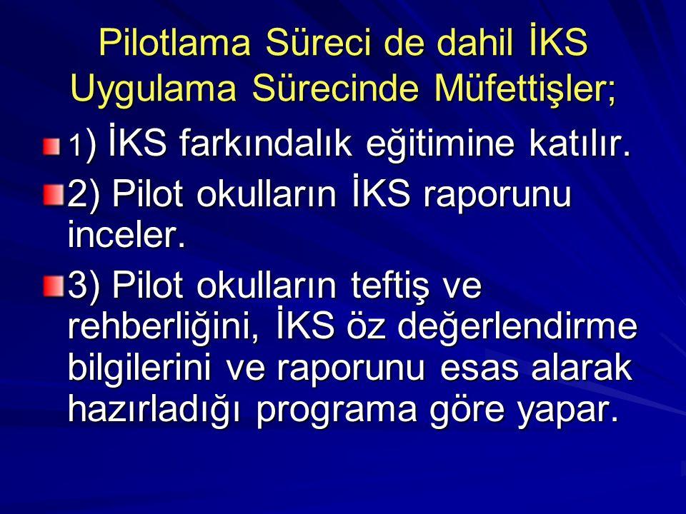 Pilotlama Süreci de dahil İKS Uygulama Sürecinde Müfettişler; 1 ) İKS farkındalık eğitimine katılır.