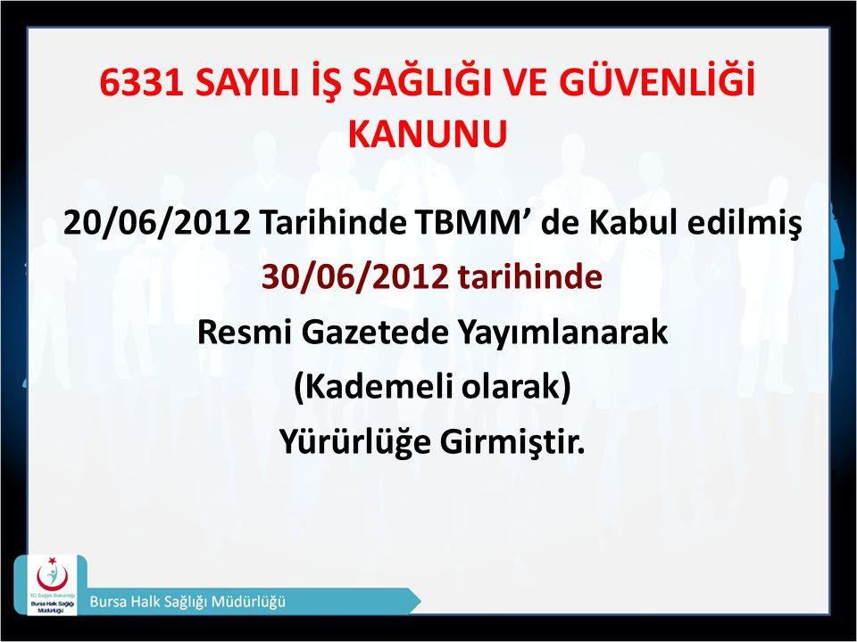 6331 SAYILI İŞ SAĞLIĞI VE GÜVENLİĞİ KANUNU 20/06/2012 Tarihinde TBMM' de Kabul edilmiş 30/06/2012 tarihinde Resmi Gazetede Yayımlanarak (Kademeli olarak) Yürürlüğe Girmiştir.
