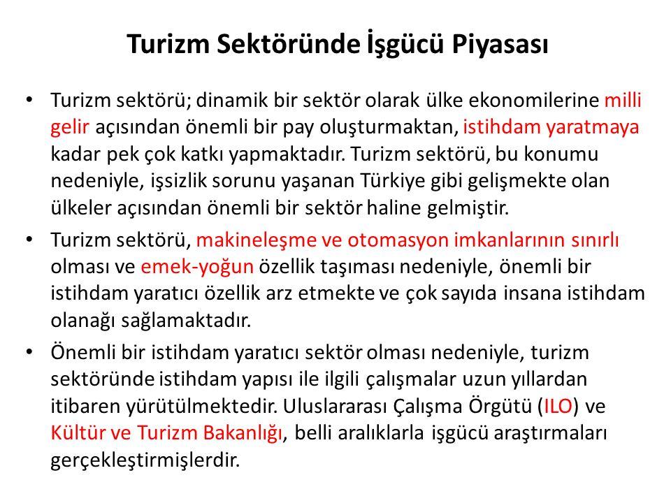 ILO Ankara'nın yayınladığı Turizm Endüstrisi ve İşgücü Araştırması sonuçlarına göre Türkiye'de konaklama sektöründe istihdam edilenlerin dörtte üçünden fazlasının yaşlarının 15 ila 34 arasında olduğu belirtilmiştir.