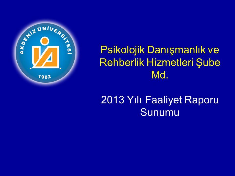 Psikolojik Danışmanlık ve Rehberlik Hizmetleri Şube Md. 2013 Yılı Faaliyet Raporu Sunumu