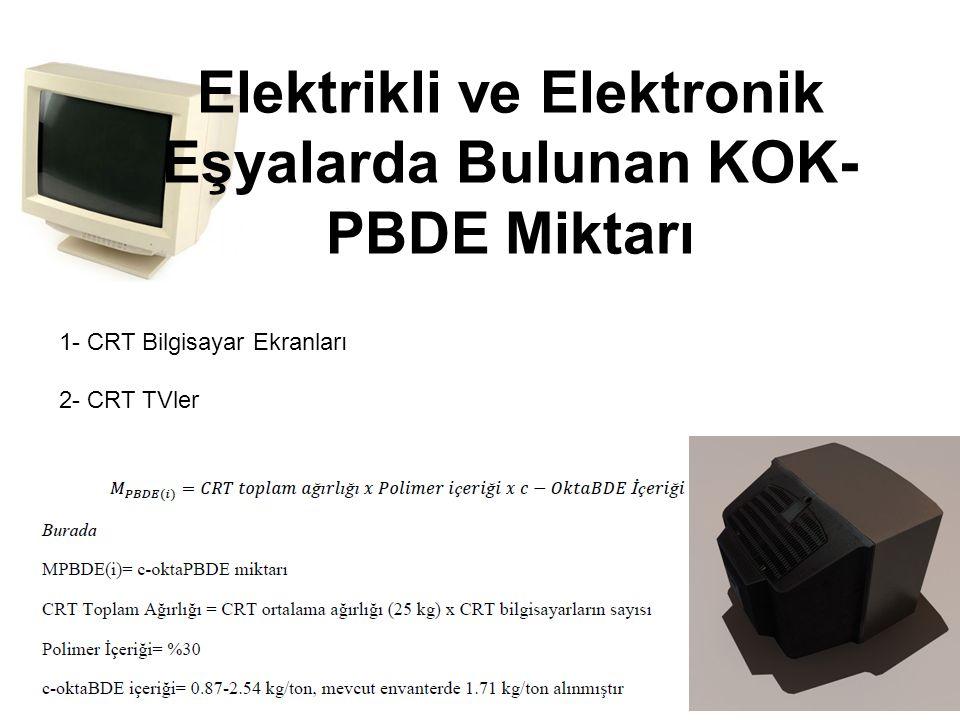 1- CRT Bilgisayar Ekranları 2- CRT TVler Elektrikli ve Elektronik Eşyalarda Bulunan KOK- PBDE Miktarı