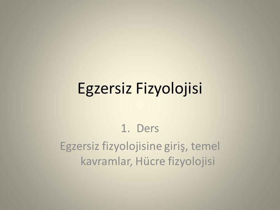 Egzersiz Fizyolojisi 1.Ders Egzersiz fizyolojisine giriş, temel kavramlar, Hücre fizyolojisi