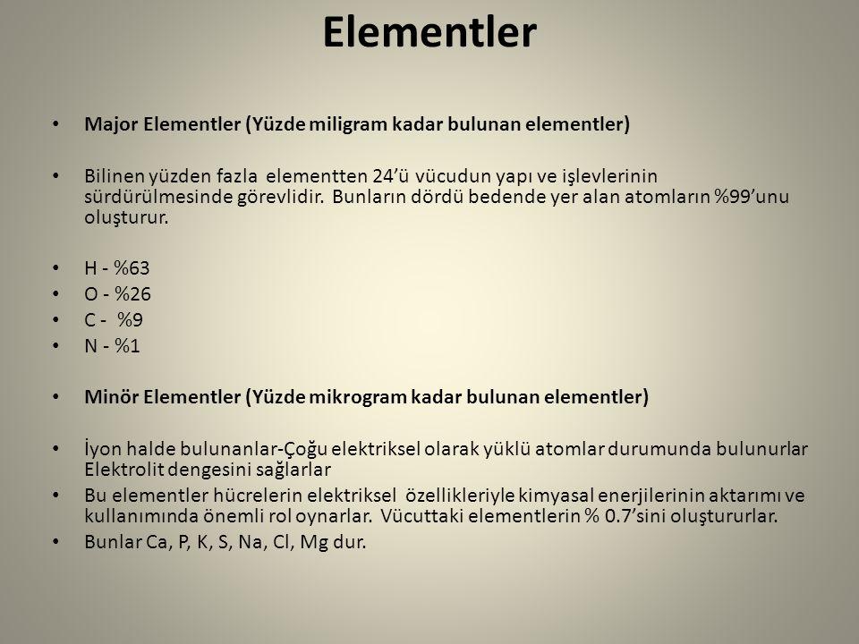 Elementler Major Elementler (Yüzde miligram kadar bulunan elementler) Bilinen yüzden fazla elementten 24'ü vücudun yapı ve işlevlerinin sürdürülmesind