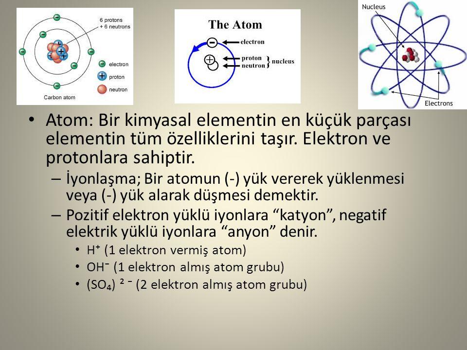 Atom: Bir kimyasal elementin en küçük parçası elementin tüm özelliklerini taşır. Elektron ve protonlara sahiptir. – İyonlaşma; Bir atomun (-) yük vere