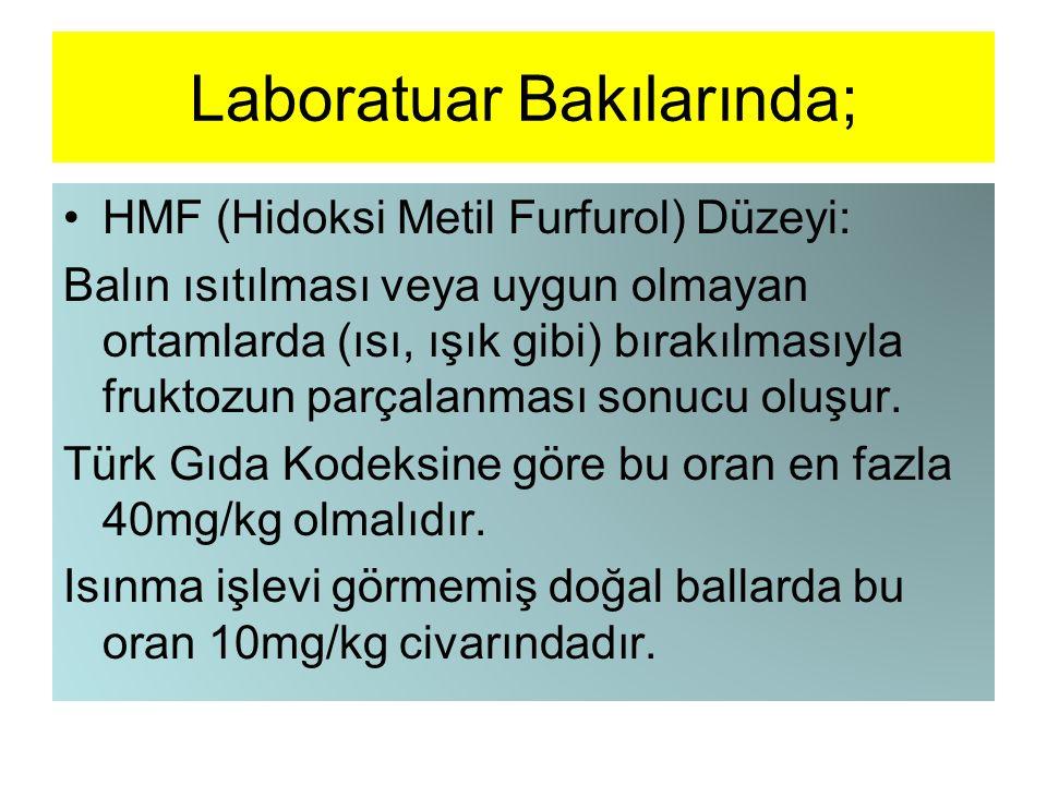 Laboratuar Bakılarında; HMF (Hidoksi Metil Furfurol) Düzeyi: Balın ısıtılması veya uygun olmayan ortamlarda (ısı, ışık gibi) bırakılmasıyla fruktozun