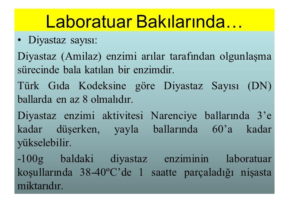 Laboratuar Bakılarında… Diyastaz sayısı: Diyastaz (Amilaz) enzimi arılar tarafından olgunlaşma sürecinde bala katılan bir enzimdir. Türk Gıda Kodeksin