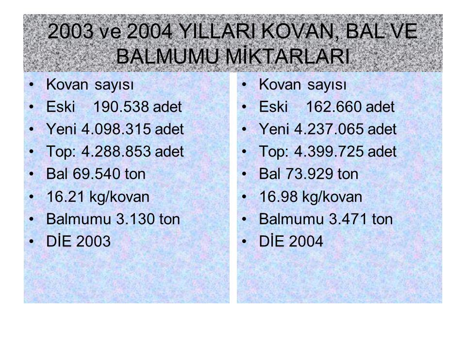 2003 ve 2004 YILLARI KOVAN, BAL VE BALMUMU MİKTARLARI Kovan sayısı Eski 190.538 adet Yeni 4.098.315 adet Top: 4.288.853 adet Bal 69.540 ton 16.21 kg/k