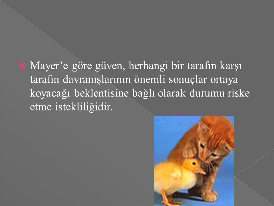  Mayer'e göre güven, herhangi bir tarafın karşı tarafın davranışlarının önemli sonuçlar ortaya koyacağı beklentisine bağlı olarak durumu riske etme istekliliğidir.