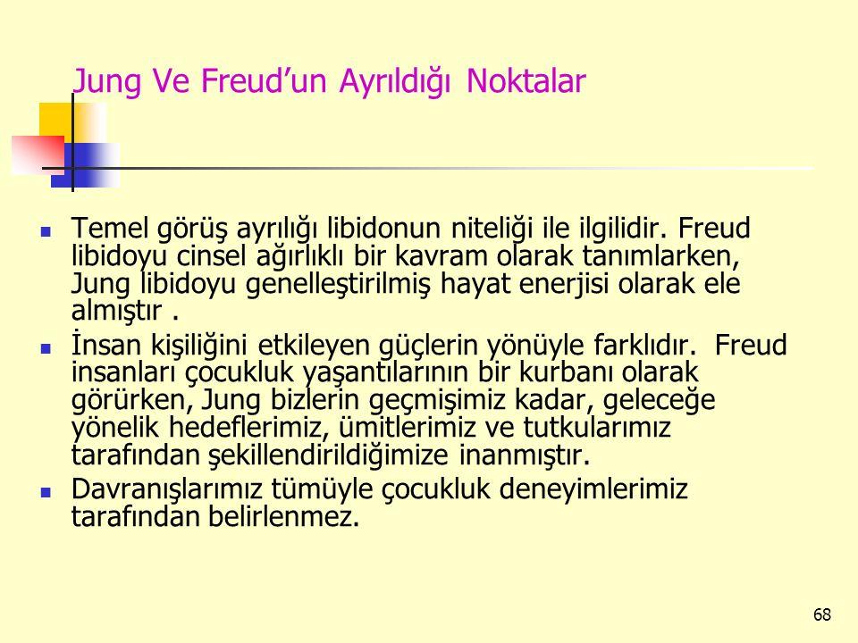 68 Jung Ve Freud'un Ayrıldığı Noktalar Temel görüş ayrılığı libidonun niteliği ile ilgilidir. Freud libidoyu cinsel ağırlıklı bir kavram olarak tanıml