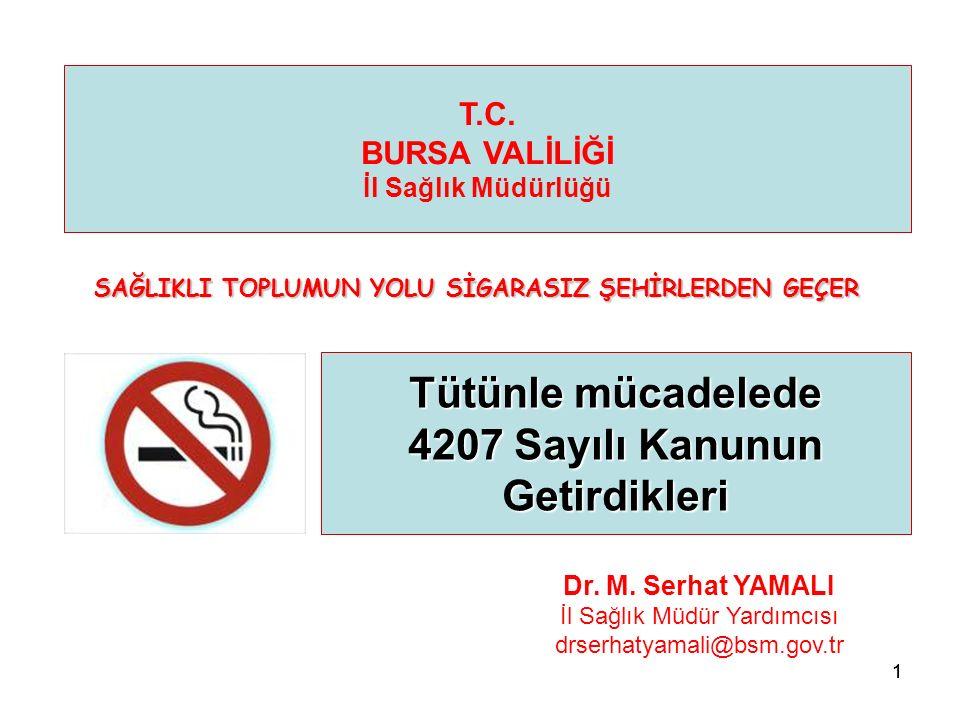 11 Tütünle mücadelede 4207 Sayılı Kanunun Getirdikleri T.C. BURSA VALİLİĞİ İl Sağlık Müdürlüğü Dr. M. Serhat YAMALI İl Sağlık Müdür Yardımcısı drserha