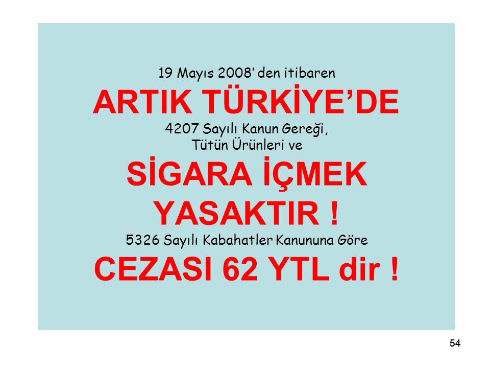 54 19 Mayıs 2008' den itibaren ARTIK TÜRKİYE'DE 4207 Sayılı Kanun Gereği, Tütün Ürünleri ve SİGARA İÇMEK YASAKTIR ! 5326 Sayılı Kabahatler Kanununa Gö