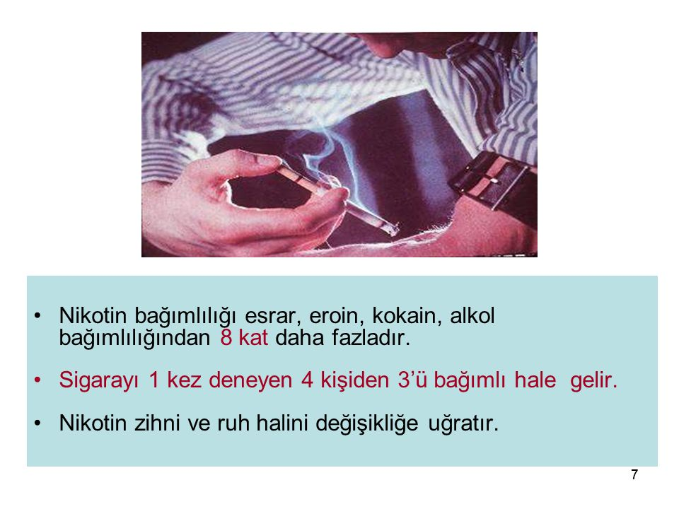 77 Nikotin bağımlılığı esrar, eroin, kokain, alkol bağımlılığından 8 kat daha fazladır. Sigarayı 1 kez deneyen 4 kişiden 3'ü bağımlı hale gelir. Nikot
