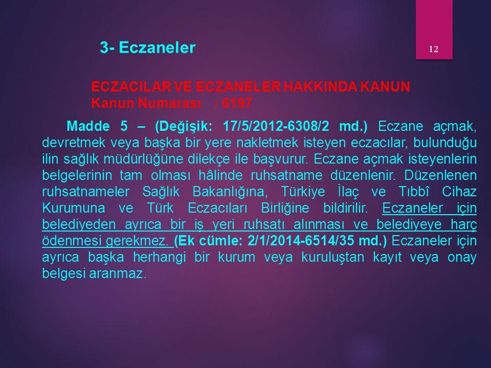 3- Eczaneler ECZACILAR VE ECZANELER HAKKINDA KANUN Kanun Numarası: 6197 Madde 5 – (Değişik: 17/5/2012-6308/2 md.) Eczane açmak, devretmek veya başka b