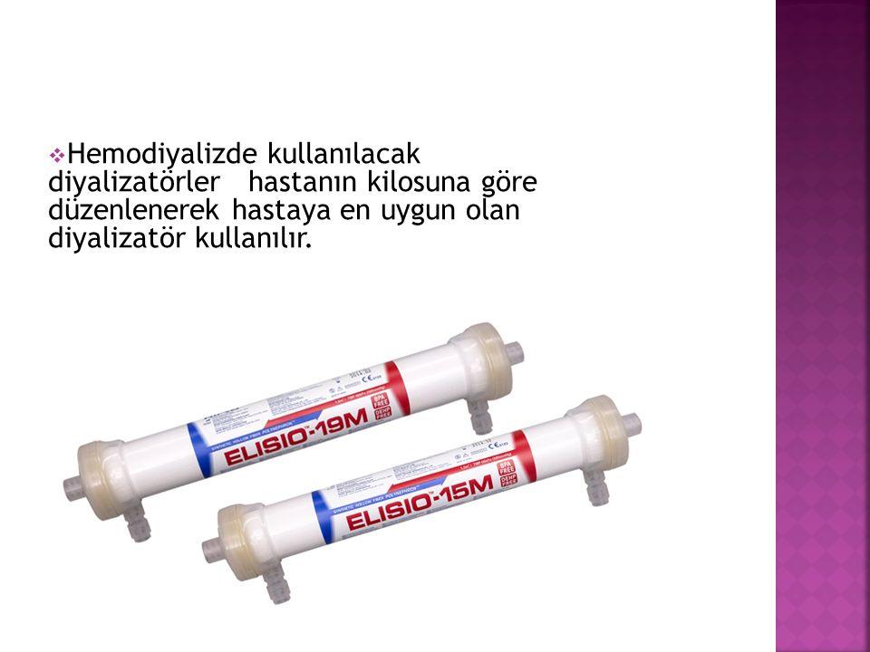  Hemodiyalizde kullanılacak diyalizatörler hastanın kilosuna göre düzenlenerek hastaya en uygun olan diyalizatör kullanılır.