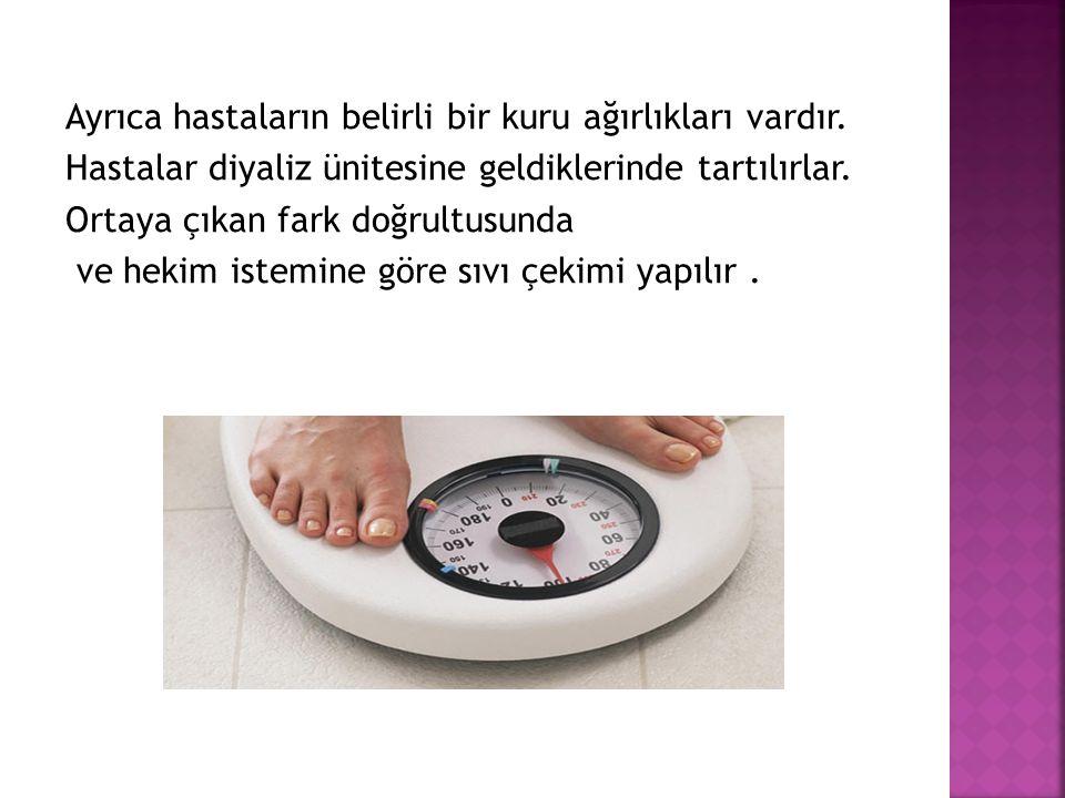 Ayrıca hastaların belirli bir kuru ağırlıkları vardır.