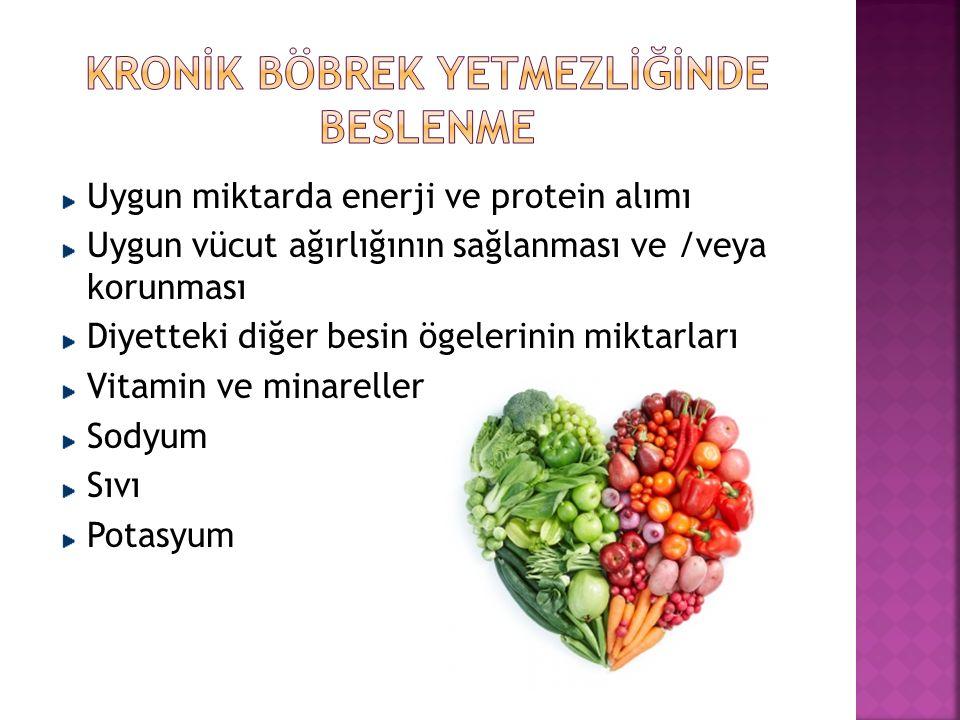 Uygun miktarda enerji ve protein alımı Uygun vücut ağırlığının sağlanması ve /veya korunması Diyetteki diğer besin ögelerinin miktarları Vitamin ve minareller Sodyum Sıvı Potasyum