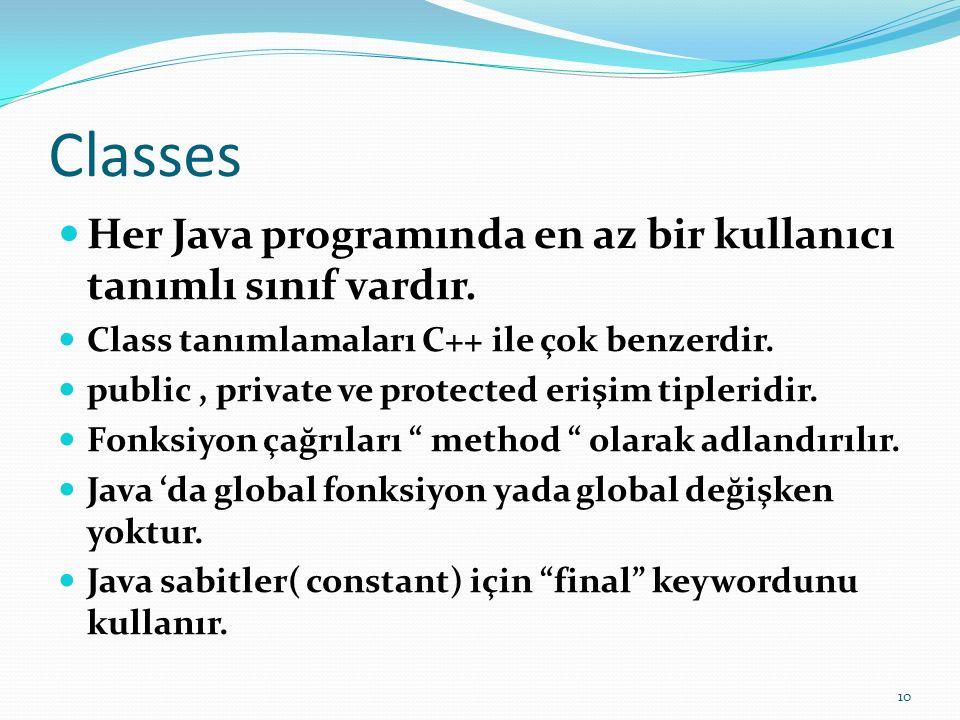 Classes Her Java programında en az bir kullanıcı tanımlı sınıf vardır. Class tanımlamaları C++ ile çok benzerdir. public, private ve protected erişim