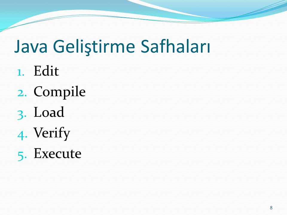 Java Geliştirme Safhaları 1. Edit 2. Compile 3. Load 4. Verify 5. Execute 8