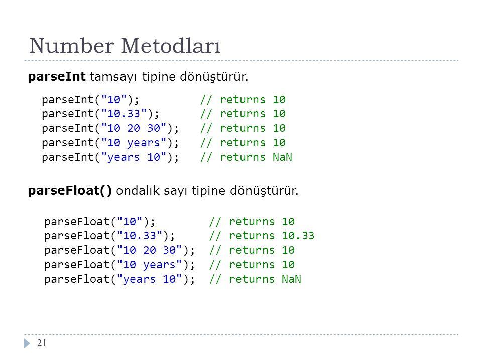 Number Metodları 21 parseInt tamsayı tipine dönüştürür.