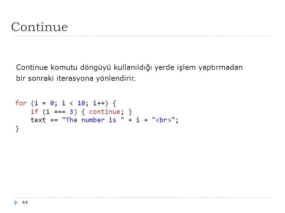Continue 44 for (i = 0; i ; } Continue komutu döngüyü kullanıldığı yerde işlem yaptırmadan bir sonraki iterasyona yönlendirir.
