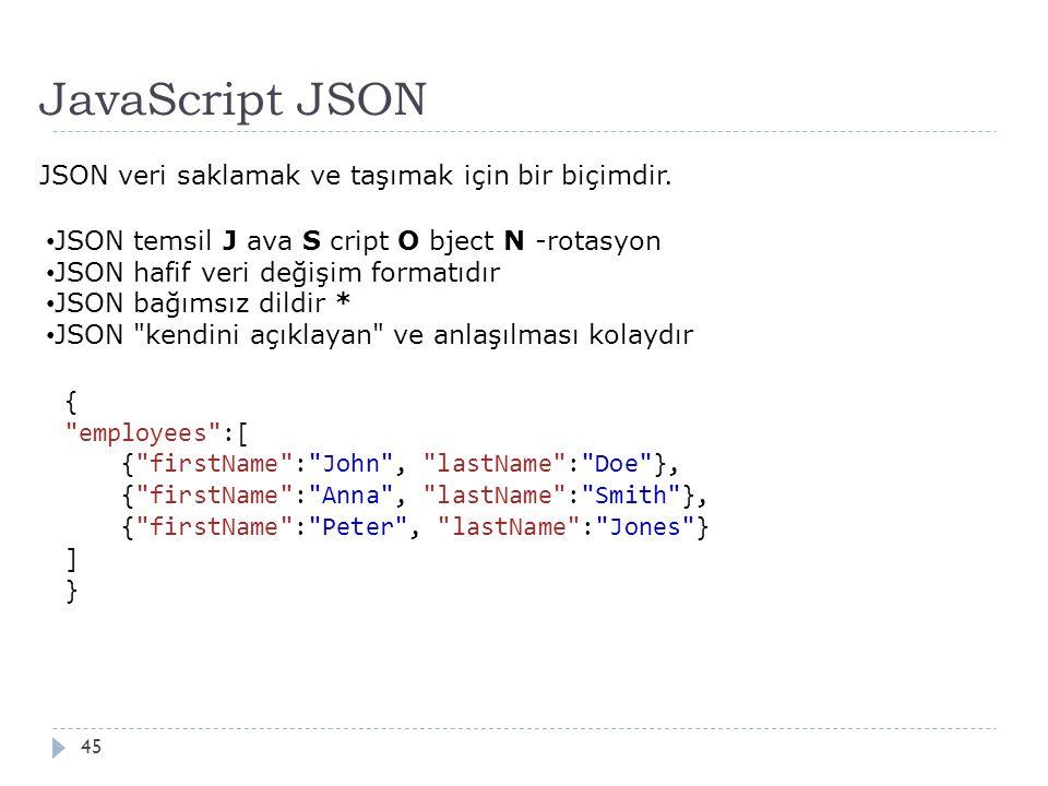 JavaScript JSON 45 JSON veri saklamak ve taşımak için bir biçimdir.