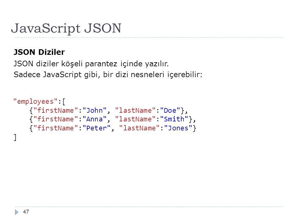 JavaScript JSON 47 JSON Diziler JSON diziler köşeli parantez içinde yazılır.