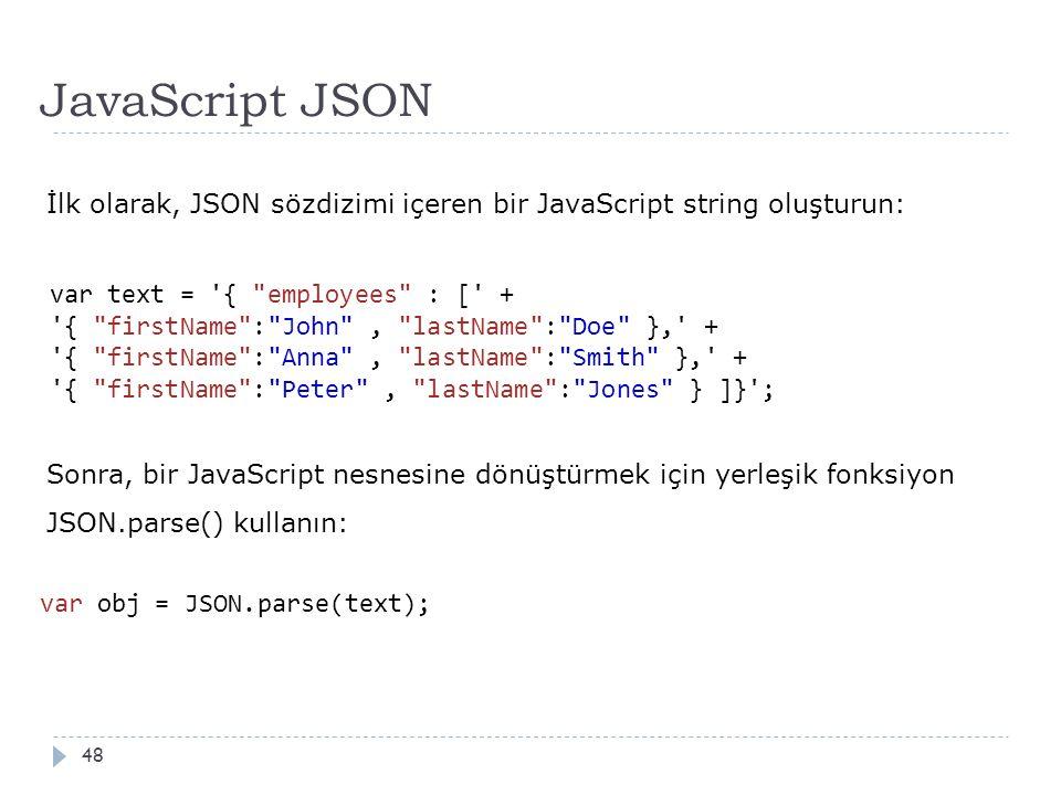 JavaScript JSON 48 İlk olarak, JSON sözdizimi içeren bir JavaScript string oluşturun: var text = { employees : [ + { firstName : John , lastName : Doe }, + { firstName : Anna , lastName : Smith }, + { firstName : Peter , lastName : Jones } ]} ; Sonra, bir JavaScript nesnesine dönüştürmek için yerleşik fonksiyon JSON.parse() kullanın: var obj = JSON.parse(text);