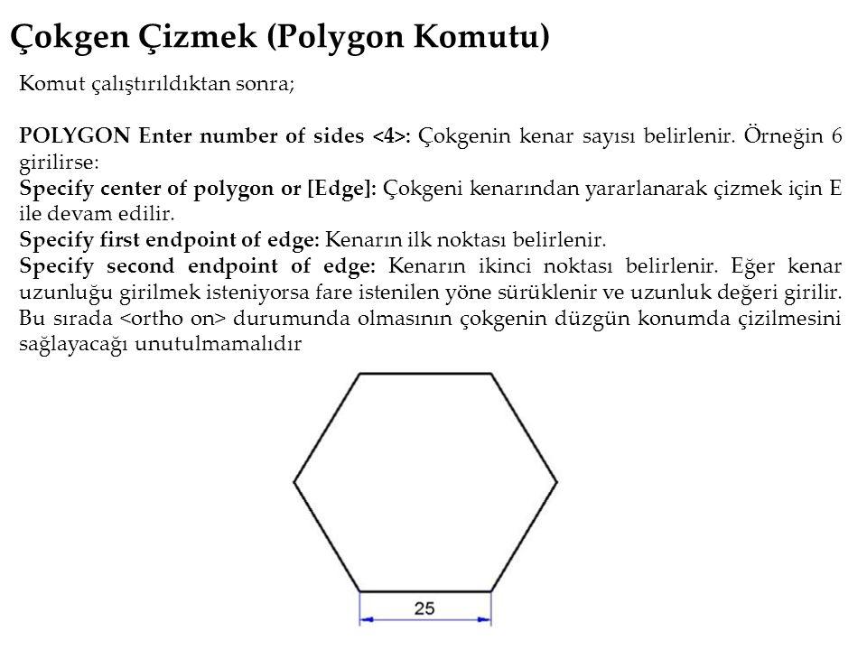 Çokgen Çizmek (Polygon Komutu) Komut çalıştırıldıktan sonra; POLYGON Enter number of sides : Çokgenin kenar sayısı belirlenir.