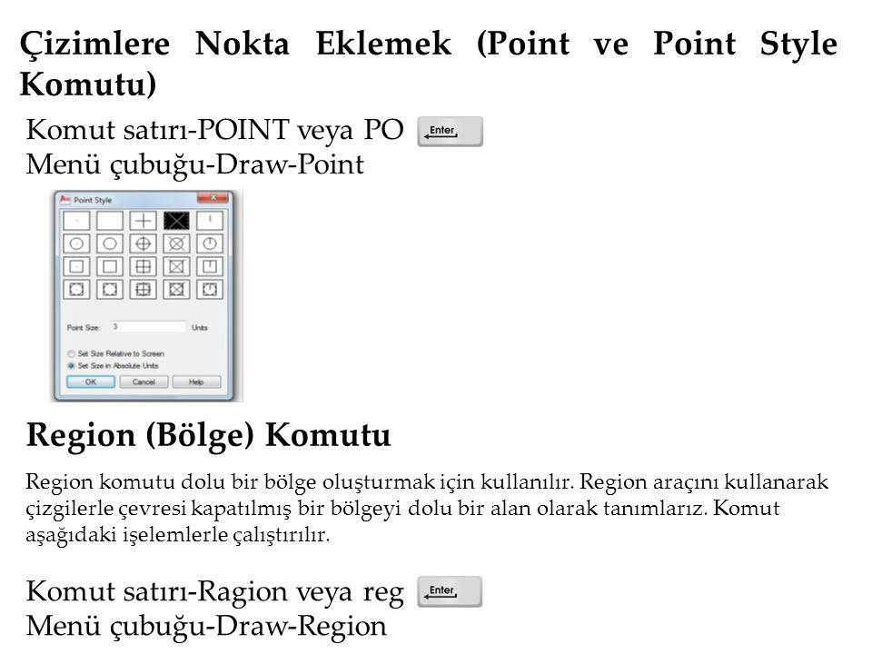 Çizimlere Nokta Eklemek (Point ve Point Style Komutu) Komut satırı-POINT veya PO Menü çubuğu-Draw-Point Region (Bölge) Komutu Region komutu dolu bir bölge oluşturmak için kullanılır.
