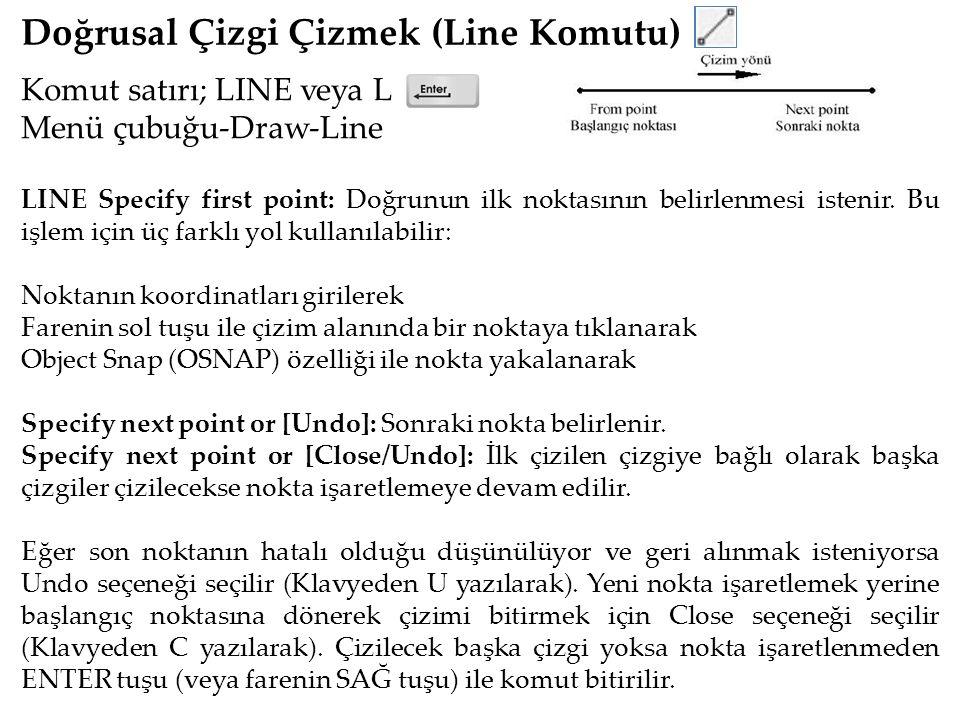 Doğrusal Çizgi Çizmek (Line Komutu) Komut satırı; LINE veya L Menü çubuğu-Draw-Line LINE Specify first point: Doğrunun ilk noktasının belirlenmesi istenir.