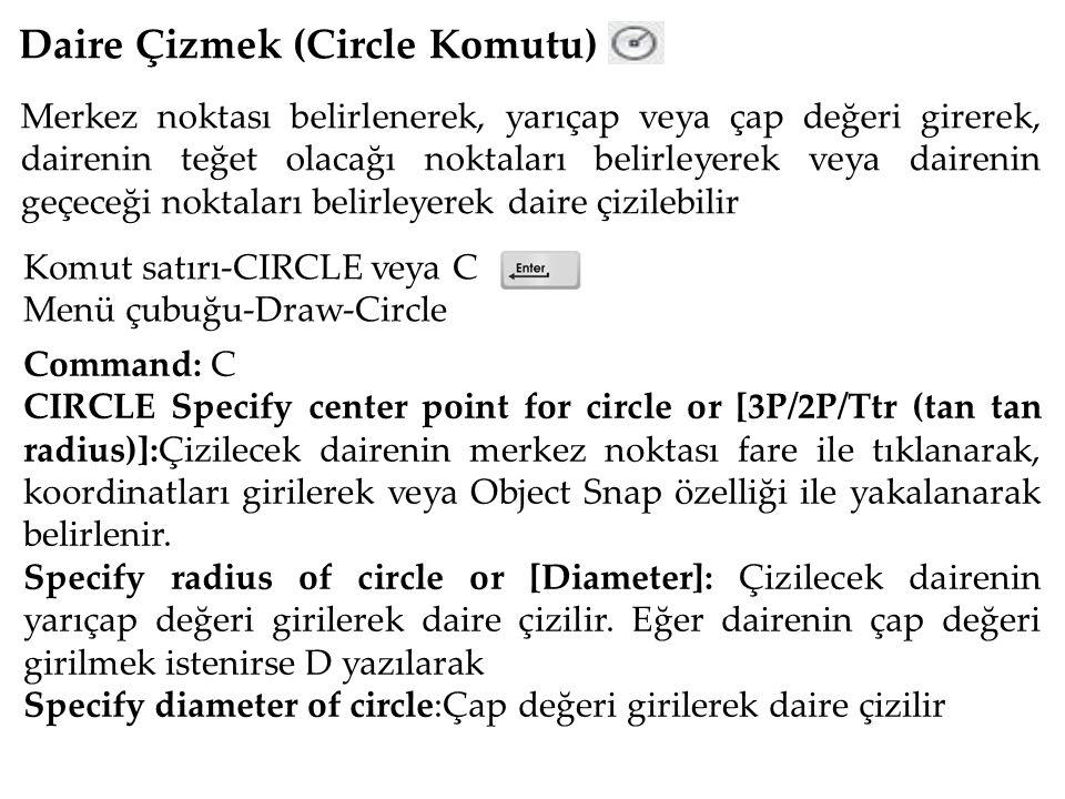 Daire Çizmek (Circle Komutu) Merkez noktası belirlenerek, yarıçap veya çap değeri girerek, dairenin teğet olacağı noktaları belirleyerek veya dairenin geçeceği noktaları belirleyerek daire çizilebilir Komut satırı-CIRCLE veya C Menü çubuğu-Draw-Circle Command: C CIRCLE Specify center point for circle or [3P/2P/Ttr (tan tan radius)]:Çizilecek dairenin merkez noktası fare ile tıklanarak, koordinatları girilerek veya Object Snap özelliği ile yakalanarak belirlenir.