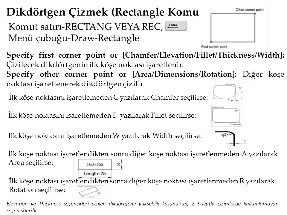 Dikdörtgen Çizmek (Rectangle Komutu) Komut satırı-RECTANG VEYA REC, Menü çubuğu-Draw-Rectangle Specify first corner point or [Chamfer/Elevation/Fillet