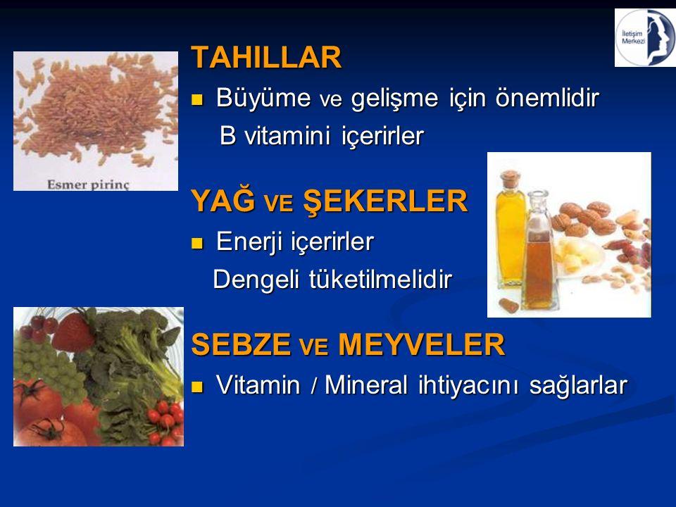 TAHILLAR Büyüme ve gelişme için önemlidir Büyüme ve gelişme için önemlidir B vitamini içerirler B vitamini içerirler YAĞ VE ŞEKERLER Enerji içerirler Enerji içerirler Dengeli tüketilmelidir Dengeli tüketilmelidir SEBZE VE MEYVELER Vitamin / Mineral ihtiyacını sağlarlar Vitamin / Mineral ihtiyacını sağlarlar